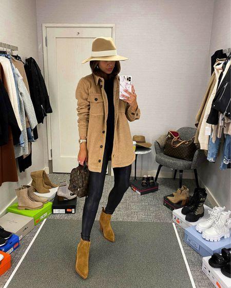 Fall outfit ideas  Nordstrom camel shirt jacket Spanx Faux Leather Leggings  Marc Fisher Suede Booties    #LTKunder100 #LTKsalealert #LTKshoecrush