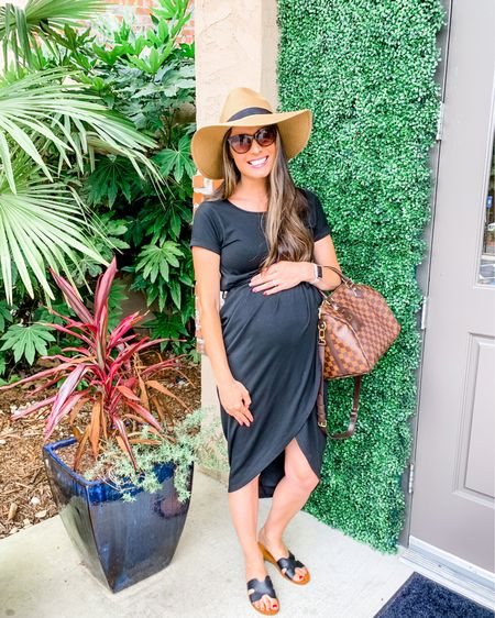 Loving this faux wrap Amazon dress for fall and it is under $25! It comes in short sleeve or 3/4 sleeve and would look so cute with a cropped moto or denim jacket as it gets cooler!! It was 85° today so I opted for sandals and a straw hat instead of booties and a felt hat because I didn't want to be miserable eating Mexican food which already heats me up!! 🥵 You can instantly shop my looks by following me - kristintiffiny - on the LIKEtoKNOW.it shopping app or go to http://liketk.it/2Whtj @liketoknow.it #liketkit #LTKbump #LTKunder50 #LTKstyletip  teacher outfits  Amazon finds  Amazon dresses Fall outfits