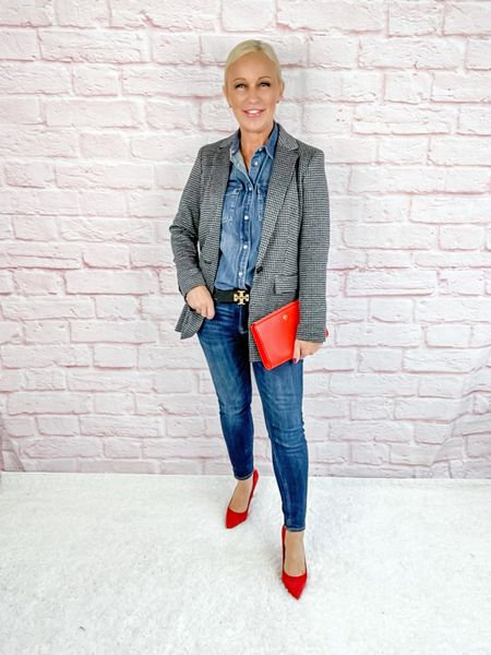 Houndstooth blazer over denim…don't forget the red shoes and handbag for a burst of color!  Blazer Look / Work Blazer / Workwear / Work Wear / Office Look / Office Outfit / Business Casual / Office Casual / Work Outfit / Tory Burch / Kate Spade /  Coach Handbags / Handbag /petite / over 40 / over 50 / over 60 / Fall Outfit / Fall Fashion    #LTKstyletip #LTKworkwear #LTKSeasonal