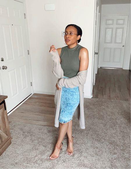 Give me all the #cardigans!! #beige #tan #fallcolors #skirt #midiskirt #midi #jeanskirt #jean #denim #mockneck #sleeveless #clothing #heels #neutral #outfit #ootd #everyday #simple #casual  #LTKunder50 #LTKstyletip #LTKshoecrush