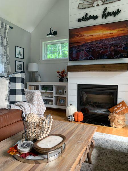 Fall decor, fall living room, modern farmhouse, fall mantle, pumpkins, Buffalo check, vegan leather couch  #LTKfamily #LTKhome #LTKSeasonal
