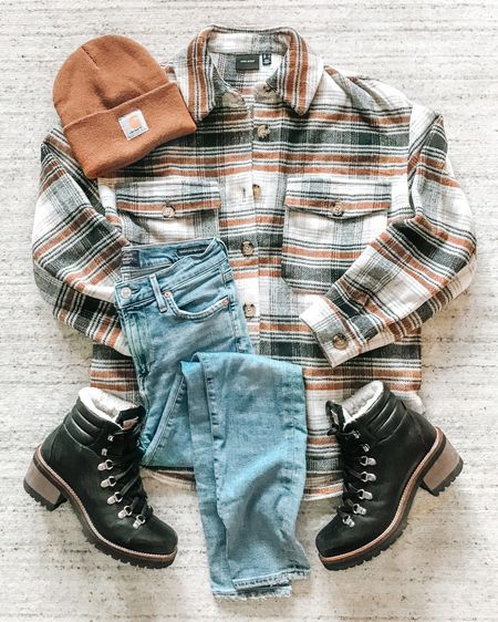 Happy Friday!  Sharing this plaid shacket styled with my favorite hiking boots, jeans and Carhartt beanie. . . SHOP MY LOOK: 1️⃣ Use this link: http://liketk.it/34dFh  2️⃣ Download and follow me (@dailystylefinds) on the FREE @liketoknow.it app 3️⃣ Screenshot this photo 4️⃣ Click the link in my profile . .  #LTKunder100 #over40fashion #fashionover40 #hikingboots #wintertrends #outfitinspo #affordablefashion #affordablestyle #flatlay #plaidshacket #wintertrends #carhartt #liketkit