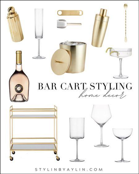 Bar cart styling, bar cart accessories, cocktail glasses, stemware, happy hour accessories, cocktails #StylinAylinHome  #LTKhome #LTKunder100 #LTKstyletip