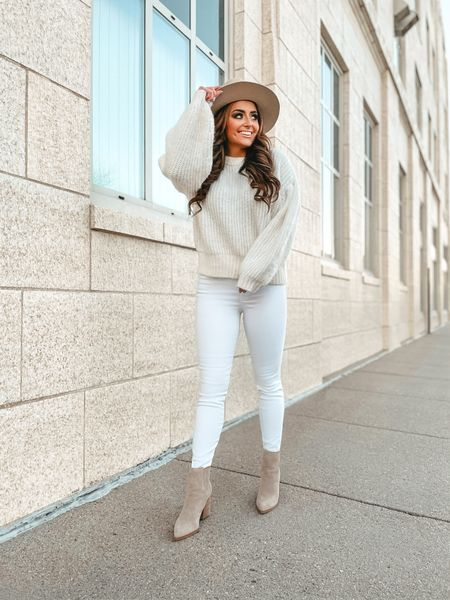 All white outfit ft. the best jeggings! 🙌🏼🤍 Spanx jean leggings. White cream sweater. Marc Fisher Neutral Oshay booties. Tan hat. Lip combo.  #LTKunder100 #LTKstyletip #LTKgiftspo