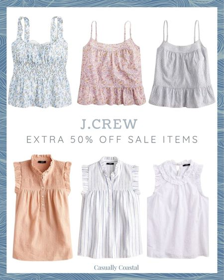 """J.Crew is having their """"end of the season"""" sale, and all sale styles are currently an extra 50% off with code """"HELLOFALL,"""" including all of these sleeveless tops, which are great with a cardigan for transitioning into the fall! - beach style, preppy style, summer fashion, resort style, resort wear, J.Crew, summer sale, vacation style, casual summer outfits, casual beach outfits, sleeveless blouses for work, sleeveless tops with ruffles, jcrew tops, pink sleeveless top, blue and white sleeveless top, striped tops, women's tops, lilac tops, cotton tank tops, Smocked-waist tank, smocked tops, tops for work  #LTKsalealert #LTKunder100 #LTKunder50"""