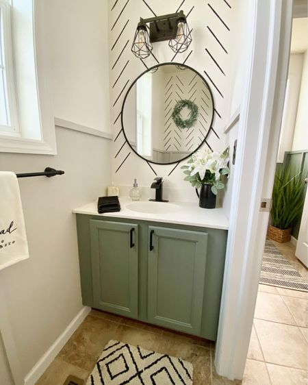 bathroom inspiration ✨ re-did our half bath by adding a board and batten wall, fixtures from target/amazon, and using this awesome wall stencil from amazon! paint is from sherwin williams - marshmallow, retreat, and agreeable gray.    #LTKfamily #LTKstyletip #LTKhome
