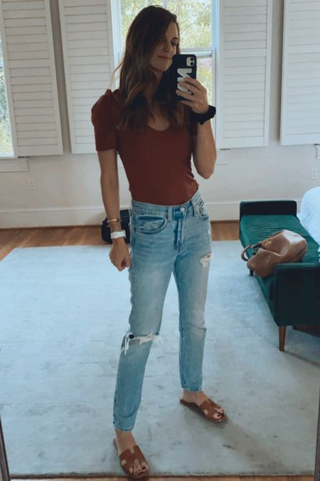 Amazon top, fall looks, back to school, puff sleeve fall, denim, Levi's, autumn palette, mom outfits, over forty, over thirty   #LTKbacktoschool #LTKunder100 #LTKunder50