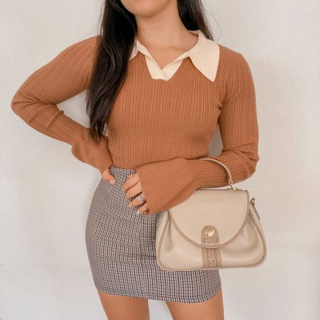 Get 15% off SHEIN with my discount code: Q3YGJESS  fall outfits, fall style, fall outfit inspo, fall outfit ideas, sweater, collar long sleeve top, houndstooth mini skirt, beige satchel bag purse   #LTKsalealert #LTKSeasonal #LTKitbag