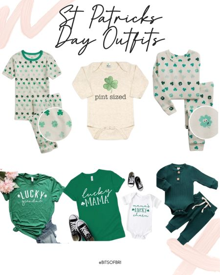 St Patrick's day outfits for the whole family.   Kids outfits. Kid pajamas. Baby outfits. Baby onesie. St Patrick's day. Holiday outfits. http://liketk.it/380ll #liketkit @liketoknow.it #LTKunder50 #LTKkids #LTKfamily