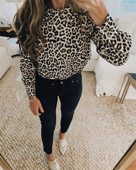 Hope y'all are leopard print lovers too! 😬🙈 #sorrynotsorry this leopard print blouse is just $19 and has the oversized collar trend I'm loving! Also comes in white! Great for dressing up for work with pants or more casual with jeans! Shop your screenshot of this pic with the LIKEtoKNOW.it shopping app http://liketk.it/2VQdS #liketkit @liketoknow.it #LTKunder50 #LTKunder100 #LTKstyletip #ltkfall