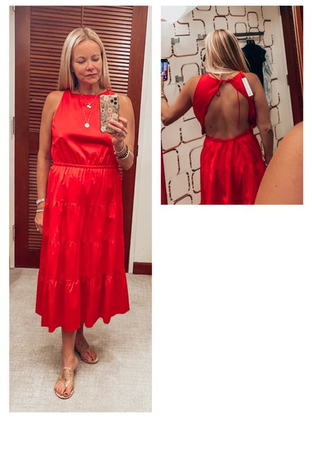 """Just found the prettiest red summer dress. I am in a size 8,, but will size down to a 4. If you are taller with a shorter torso,  this is a great option. I am a 33"""" inseam, but only 5'5 1/2 so most dresses like this do not work,  but the cut of this is flattering. Planning to wear this to a rehearsal dinner. It has an open back that ties at the top and an elastic waist which is very forgiving.  This dress is perfect as a casual cocktail dress, wedding guest or a rehearsal dinner. The open back gives it something special. Material is breathable. Would be great for your next beach trip, too. Dress it up or down with strappy sandals or wedges, and a statement necklace or gold bangles and statement earrings. This silhouette is classic and you can wear this for years to come.    #LTKtravel #LTKstyletip #LTKwedding"""