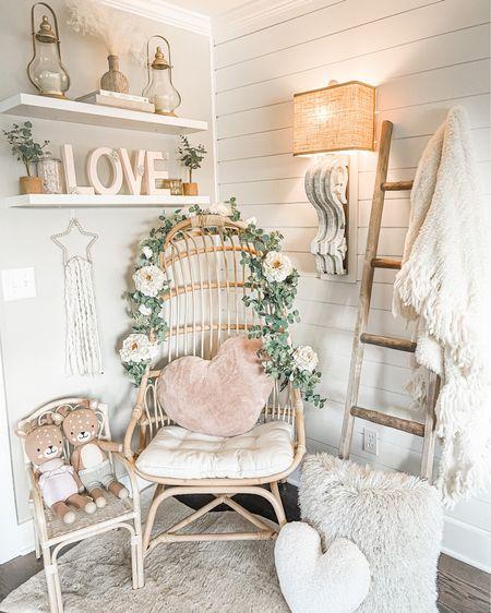 Valentine's Day decor Egg chair DIY craft Heart pillows Flower garland    http://liketk.it/37aMU @liketoknow.it @liketoknow.it.home #liketkit #LTKVDay #LTKSeasonal #LTKhome