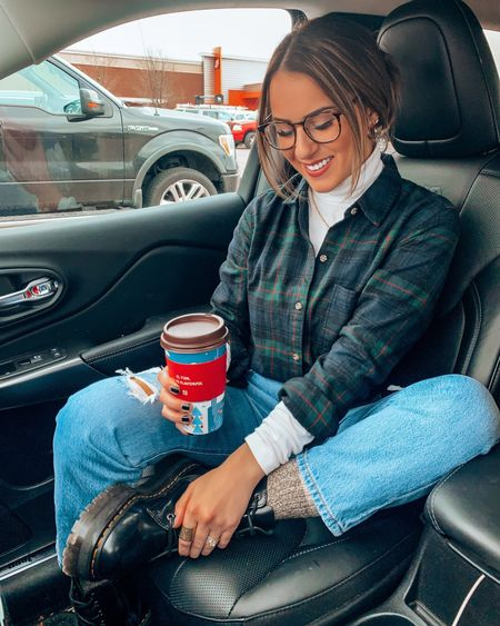 Casual outfit with a cozy flannel and turtleneck tee & doc martens  — Size down in docs- Wearing 6 normally 6.5-7. 26 in jeans   #LTKSeasonal #LTKSale #LTKstyletip