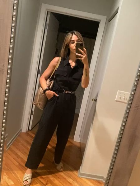 Quick and easy work look! Crushing on this jumpsuit and styled an old belt to jazz it up a bit! Loving this nude slides too!  #LTKstyletip