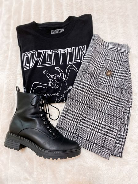 Target tee and boots! Love this combo, all true to size but go up in the skirt if inbetween. #amazonfashion #targetfinds #targetstyle #plaidskirt #oversizedtee   #LTKunder50 #LTKshoecrush #LTKSeasonal