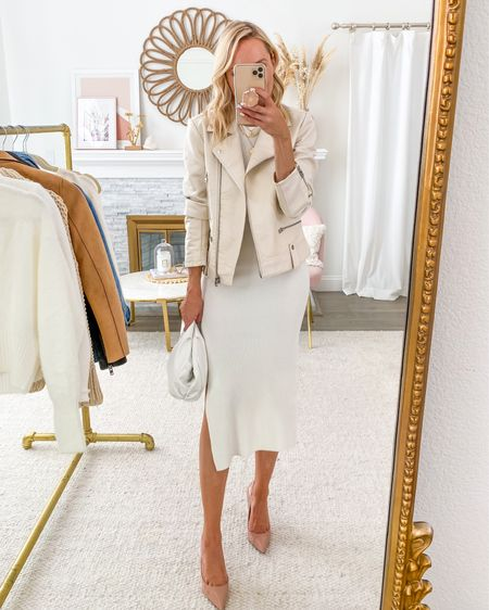 Featuring this versatile ribbed white dress in today's Friday Five, love it styled with a white moto jacket http://liketk.it/2VppQ #liketkit @liketoknow.it #LTKstyletip #LTKunder100