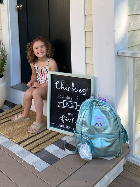 It's about that time of year 😅 Chalkboard signs + chalk markers, linked! I just ordered using code: 20MADEBYYOU ⚡️ Clothes stamp, backpack + outfit also linked — size down one FULL size on the shoes! ❤️   #LTKbacktoschool #LTKkids #LTKSeasonal