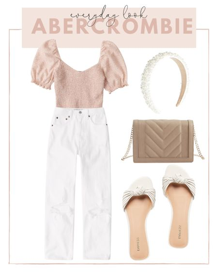 Casual summer look: pair a crop top with white mom jeans and a pair of bow sandals. http://liketk.it/3hjfT #liketkit @liketoknow.it