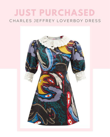 New arrival: CHARLES JEFFREY LOVERBOY Abstract-print denim mini dress from matches fashion, white lace collar, puff sleeves, spring / summer, fall / winter, Dr Martens Shriver Hi Wyoming heeled ankle boots in black, ASOS, gold jewelry from Amazon #LTKbacktoschool  Follow my shop on the @shop.LTK app to shop this post and get my exclusive app-only content!  #liketkit  @shop.ltk h   #LTKSeasonal #LTKshoecrush #LTKstyletip #LTKSeasonal #LTKworkwear