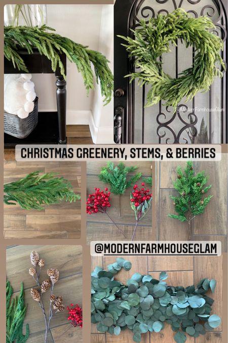 Christmas decorations, Christmas greenery, pine garland, Christmas wreath, Stems, christmas pics, eucalyptus, home decor, furniture, Christmas decor, holiday decorating, a Modern Farmhouse Glam  #LTKHoliday #LTKSeasonal #LTKhome