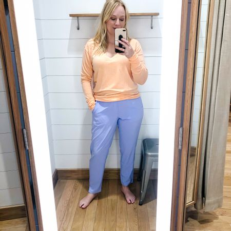 I can get over how soft this sweatshirt is. In love the v neck. Sized down to a medium. Size 8 in the pants. #hocspring #houseofcolour   #LTKtravel #LTKfit