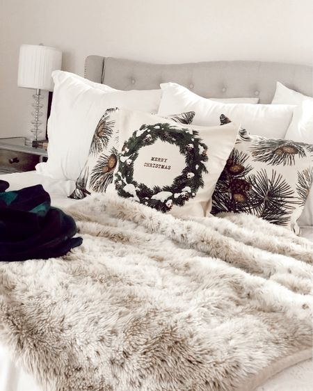 Christmas throw pillows under $20 (covers only) Pottery Barn Faux fur blankets on sale for under $100  Buffalo plaid throw blanket  http://liketk.it/2HYuX @liketoknow.it #liketkit #LTKholidaystyle #LTKholidayathome #LTKsalealert bedding, Christmas decor, holiday decor, H&M Home