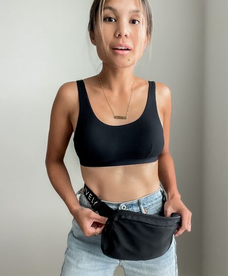 Still summertime, still in a comfy bralette! This ribbed scoop back bralette is from LIVELY. Wearing it with LIVELY'S the crew fanny pack. Fun fact: this Fanny back is packable! Easy to store essentials and run around with toddler.  #LTKstyletip #LTKunder50 #LTKitbag