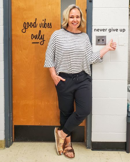 Casual everyday spring fall teacher outfit featuring Lululemon joggers, a striped dolman sleeve sweater, and rose gold copper Birkenstocks #teacher #casual #stripes #lululemon #joggers #birkenstocks #birkenstock #everyday #weekend #comfortable #petite http://liketk.it/3eLGH @liketoknow.it #liketkit