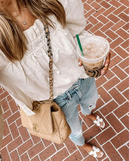 Love this puff sleeve linen blend too for end of summer with ripped jeans and sandals   #LTKunder50 #LTKstyletip #LTKunder100