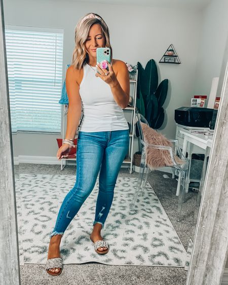 Casual & cute! This ribbed tank is a must have and ankle distressed denims are perfect! 💕 http://liketk.it/3h0ZS #liketkit @liketoknow.it #LTKunder50 #LTKshoecrush #LTKstyletip