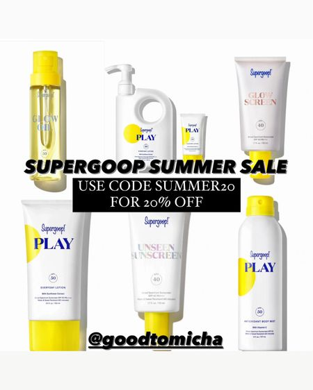 Supergoop sunscreen sale! Use summer20 for 20% off until June 8th! My fave products rounded up here including unseen sunscreen and the play lotion- both leave no white cast! #liketkit http://liketk.it/3gRBR @liketoknow.it #LTKbeauty #LTKsalealert