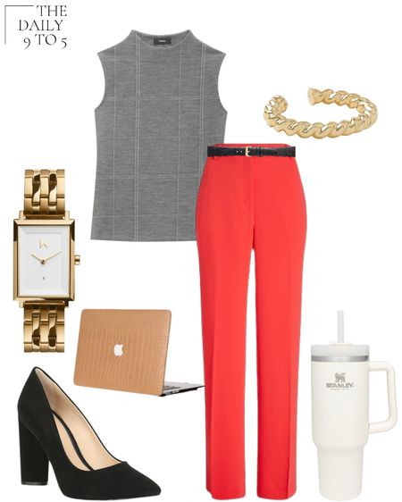 The Daily 9 To 5: August 24, 2021 Go to work in these attention grabbing high-waisted red pants from @express paired with this gray @theory__ knit top. Paired with a gold @mvmt watch, classic block heel suede pumps, and an @anntaylor  gold twisted metal cuff bracelet. Also, dress up your laptop with this faux crocodile case and stay hydrated with my favorite resuable 40 oz tumbler for water by @stanley_brand  #LTKunder100 #LTKstyletip #LTKworkwear