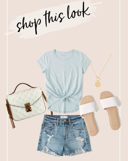 Shop this look! 40% off select styles at Abercrombie! // shorts, sandals, tops, bags, dupes http://liketk.it/3jOcm #liketkit @liketoknow.it #LTKsalealert #LTKstyletip #LTKunder100