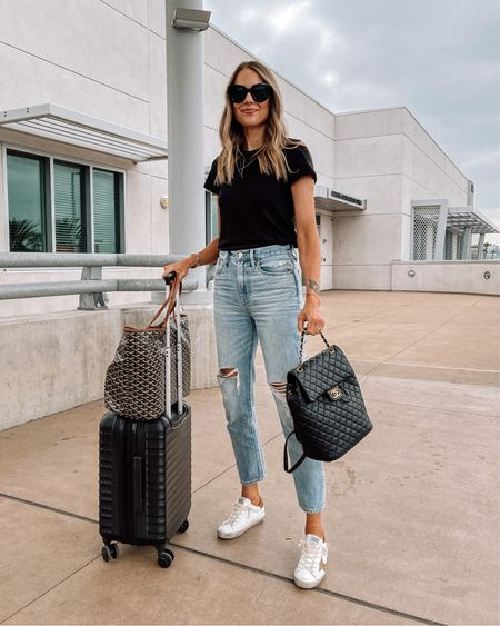 Today's travel outfit from San Diego to Nashville! Comfy in these mom jeans from madewell (tts) a new pair of golden goose sneakers and my favorite black tshirt (small) #travelstyle #traveloutfit #goldengoosesneakers #amazonfinds http://liketk.it/3h17t #liketkit @liketoknow.it #LTKunder100 #LTKtravel #LTKunder50