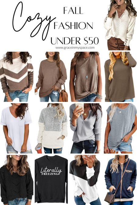 Cozy fall fashion under $50! These women's tops are all comfortable and make you feel put together whether you're wearing a sweatshirt or sweater. Plus, three favorite layering tops!   #LTKfit #LTKunder50 #LTKSeasonal