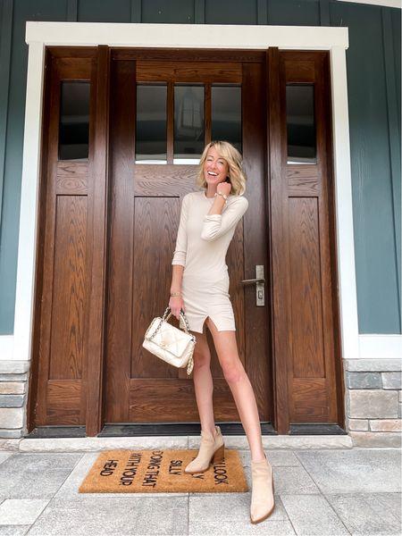 Nordstrom sale outfit Tan dress Ankle booties for fall Chanel beige bag Front porch   #LTKstyletip #LTKsalealert