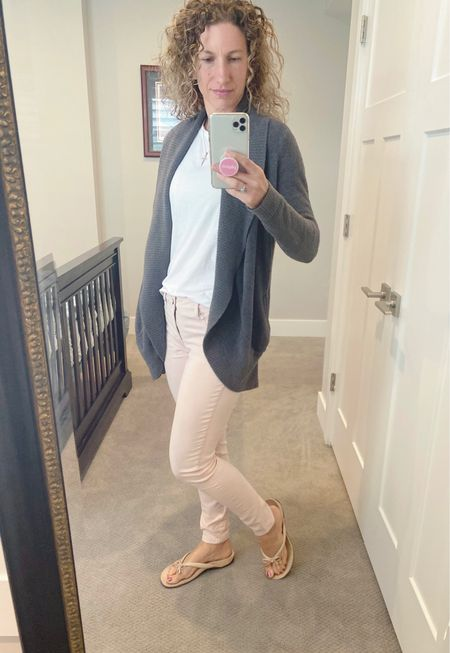 Happy Mother's Day! I love classic and easy outfits! White tee shirts (t-shirts) are my favorite! I buy #whitewomenstees in bulk. Ok not really. But I always buy 2 at a time! #momlife I love colored jeans out jeggings. This sweater has been a favorite of mine from Nordstrom for at least 5 years and looks & feels just as great now as it did the day I bought it! I have a ton of Vionic Orthoheel shoes and flip flops that I am in love with! They are comfy and I wear them so much I need to replace them every year or 2. I also love a large men's side watch (hidden under my sweater) with fancy bracelets! #jeans #jeggings #coloredjeans #coloredleggings #coloredjeggings #pinkjeans #pinkjeggings