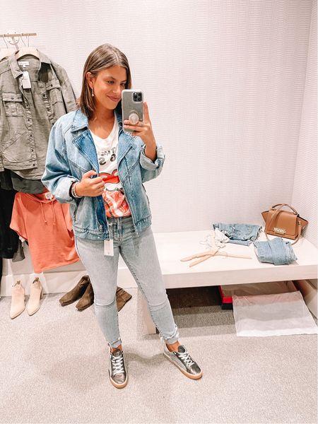 Graphic tee Good American denim Under $100 Blank NYC jacket    #LTKstyletip #LTKshoecrush #LTKunder100