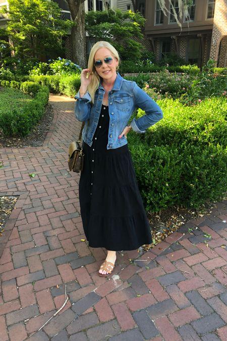Top selling look Target summer maxi dress Brown flat sandals  Denim jacket  http://liketk.it/3frSU #liketkit @liketoknow.it #LTKunder50 #LTKtravel