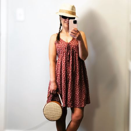 The perfect dress for today's summer heat. 31 degrees out today! It's hot 🔥   Burgundy Floral mini dress. The perfectmidi dress for a cute date when paired with sandals or for brunch with your favourite sneakers Adjustable shoulder straps Elastic back Ruched bust with tie   #LTKtravel #LTKunder50 #LTKstyletip