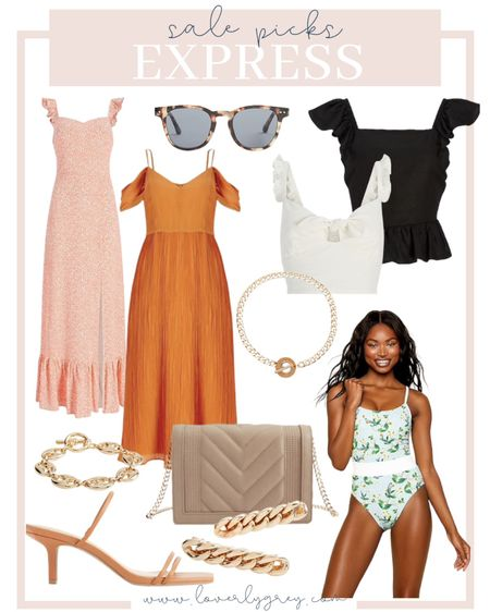 So many good pieces on sale at express right now! Loving these dresses for wedding guest dress options and this swimsuit for your next trip!  #LTKstyletip #LTKDay #LTKsalealert
