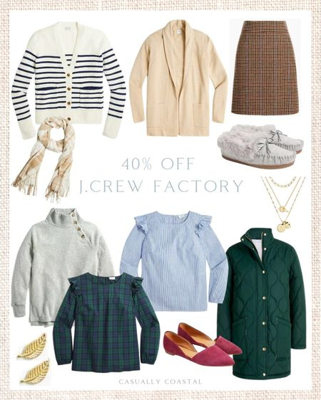 Take 40% off your purchase at J.Crew Factory right  now, and save an additional 15% off orders $100+ with code BIGSALE! - fall fashion, fall shoes, fall booties, J.Crew Factory, fall sweaters, plaid shift dress, holiday tops, plaid tops, cardigans, tan cardigans, blouses for work, blouses with ruffles, tops with ruffles, jewelry, accessories, maroon flats, plum flats, earrings, layered necklaces, fall slippers, winter slippers, grey slippers, gray slippers, striped cardigans, fall skirts, skirts for work, holiday skirts, plaid scarves, puffer coats, green puffer coats, puffer coats on sale, stud earrings, leaf earrings, tunic sweatshirt, gray tunic, grey tunic, fleece sweatshirt, fall mini skirt  #LTKunder50 #LTKunder100 #LTKsalealert