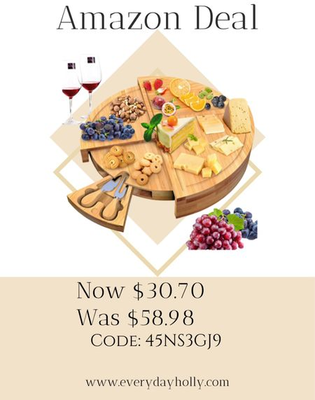 """Amazon Deal! 🥖🧀🍇 Bamboo Cheese Board,Charcuterie Platter & Serving Traywith Knives Set - Stores as a Compact Wedge - Opens to 14"""" Diameter Round Tray for Entertaining and Serving • wedding gift • housewarming gift • gift idea • gifts for home   #LTKsalealert #LTKhome #LTKunder50"""