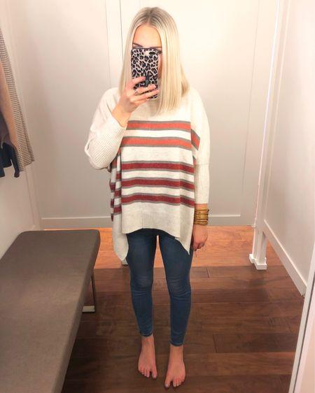 LOFT Striped turtleneck poncho sweater (XS)!! LOVE!! http://liketk.it/2Fmk9 @liketoknow.it #liketkit #LTKsalealert