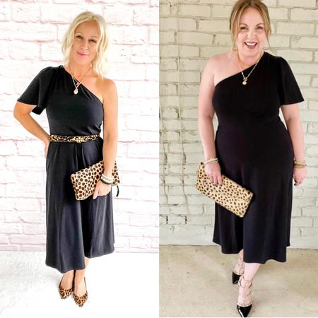 Side by side fashion - two bodies, two styles / one dress! @shortgirlbigmood  One shoulder dress / wedding guest dress / date night dress / date night / petite / over 40 / over 50 / leopard  #LTKSeasonal #LTKitbag #LTKunder50