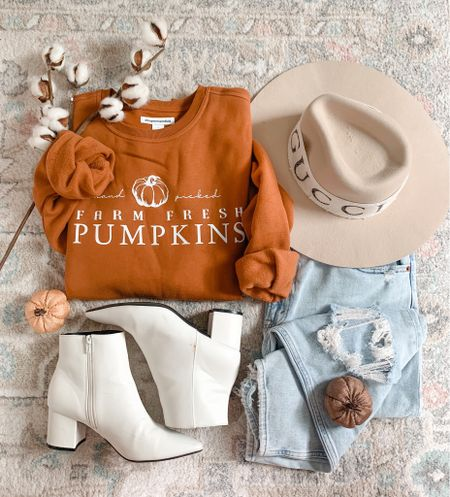 Fall sweatshirt Fall outfit White booties Abercrombie jeans Fall shirts  Graphic sweatshirt   #pumpkinsweatshirt #graphicsweatshirt #falloutfit #abercrombiejeans #momjeans #fallfashion #fallshirts #crewneck #whitebooties #whiteboots   #LTKunder100 #LTKSale #LTKunder50