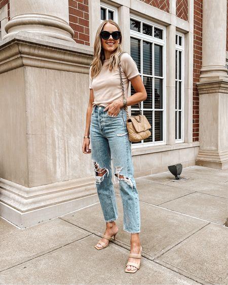 Love these tan sandals under $100! (Fit TTS). Top (small / TTS), jeans (run big / size down) #sandals #summerfashion #rippedjeans http://liketk.it/3gU39 #liketkit @liketoknow.it #LTKshoecrush #LTKstyletip #LTKunder100