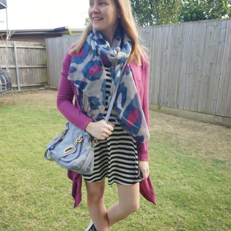 Adding some cosy layers to this little striped tee dress for a very cold morning the other week ❄ Luckily it warmed up during the day! This magenta waterfall cardigan is a fun colourful choice with the black and white striped tee dress and I thought it went nicely with the pink in the @fashionscarfgirl cheetah print scarf Mum got a for Christmas, even if not an exact match. Had to match the blue with the periwinkle Chloe small Paraty bag too 💙 busy day of rushing around to get last minute things for my son's birthday party after the school run.  ---------------------- ------------- -------------- ------------------------  Screenshot this pic to shop the product details from the @liketoknow.it app, or click here: http://liketk.it/3hHFL #liketkit #LTKitbag #chloebag #chloeparaty #everythingLooksBetterWithABag #realeverydaystylepic #everydaystyle #realmumstyle #winterstyle #wearedonthestreet #nevervainalwayscolour #fashionscarfgirl