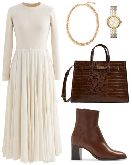 Chic fall style . . . Fall style, fall outfit, fall transition, cream dress, midi dress, long sleeve dress, gold necklace, croc embossed bag, croc embossed purse, crocodile, top handle bag, chic style, brown boots, brown booties, brown leather booties   #LTKunder100 #LTKSeasonal #LTKstyletip