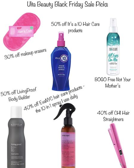 Ulta beauty Black Friday sales deals! 30% off makeup erasers that I use daily to take off my makeup - would make great stocking stuffers. 50% off It's a 10 hair care products. BOGO free not your mothers hair care products. 50% off living proof body builder hair care. 40% off evaNYC hair care - I use this 10 in 1 spray daily and it's perfect for fine and thin hair! And 40% off CHI hair straighteners- I've had mine for over 8 years and it's still going strong! http://liketk.it/32cWW @liketoknow.it #liketkit #LTKgiftspo #LTKbeauty #LTKsalealert